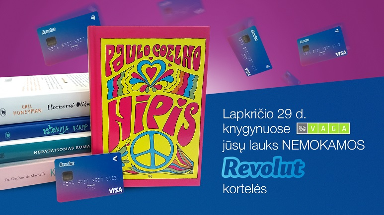 Nemokamas Revolut kortelių dalinimas knygynuose VAGA